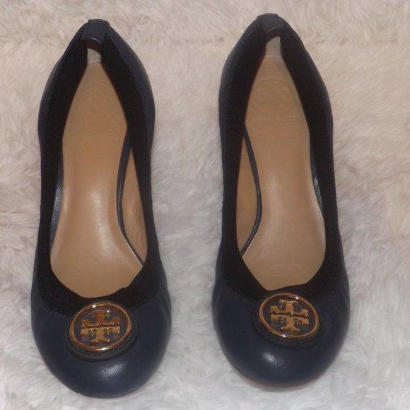 Blue Leather Tory Burch Women's Jolie Size 8 M